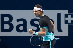 Spain's Rafael Nadal reacts during his semifinal match against France's Richard Gasquet at the Swiss Indoors tennis tournament at the St. Jakobshalle in Basel, Switzerland, Saturday, Oct. 31, 2015. (Georgios Kefalas/Keystone via AP)