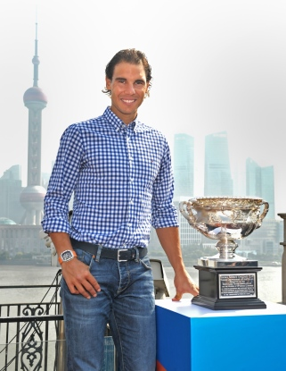 SHANGHAI, CHINA - OCTOBER 13: In this handout provided by Tennis Australia, Rafael Nadal poses with the Norman Brookes Challenge Cup during the international launch of the Australian Open 2016 at the Shook on October 13, 2015 in Shanghai, China. (Photo by Fiona Hamilton/Tennis Australia via Getty Images)