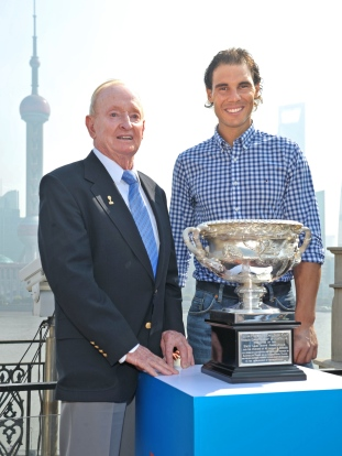 SHANGHAI, CHINA - OCTOBER 13: In this handout provided by Tennis Australia, Rod Laver and Rafael Nadal pose with the Norman Brookes Challenge Cup during the international launch of the Australian Open 2016 at the Shook on October 13, 2015 in Shanghai, China. (Photo by Fiona Hamilton/Tennis Australia via Getty Images)