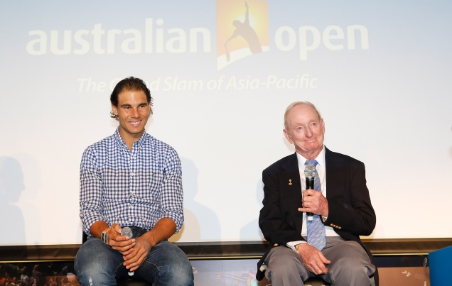 SHANGHAI, CHINA - OCTOBER 13: (L-R) Rafael Nadal of Spain and tennis legend Rod Laver attend the Australian Open 2016 Launch at The Shook on October 13, 2015 in Shanghai, China. (Photo by Hu Chengwei/Getty Images for Tennis Australia)