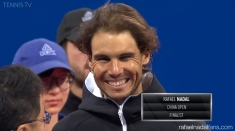Rafael Nadal poses with the China Open runner-up trophy (2)