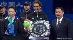 Rafael Nadal poses with the China Open runner-up trophy