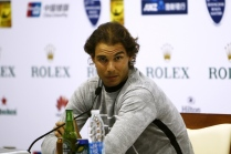 SHANGHAI, CHINA - OCTOBER 13: Rafael Nadal speaks at a press conference during day 3 of Shanghai Rolex Masters 2015 at Qi Zhong Tennis Centre on October 13, 2015 in Shanghai, China. (Photo by Kevin Lee/Getty Images)