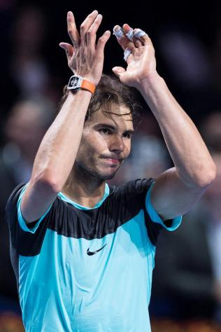 Spain's Rafael Nadal reacts after winning the semifinal match against France's Richard Gasquet at the Swiss Indoors tennis tournament at the St. Jakobshalle in Basel, Switzerland, 31 October 2015. (Tenis, Suiza, Basilea) EFE/EPA/DOMINIC STEINMANN