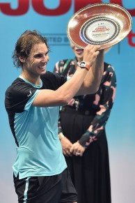 Rafael Nadal of Spain poses with his throphy during the Rafael Nadal v Novak Djokovic exhibition match at Hua Mark Indoor Stadium on October 2, 2015 in Bangkok, Thailand. (Oct. 1, 2015 - Source: Thananuwat Srirasant/Getty Images AsiaPac)
