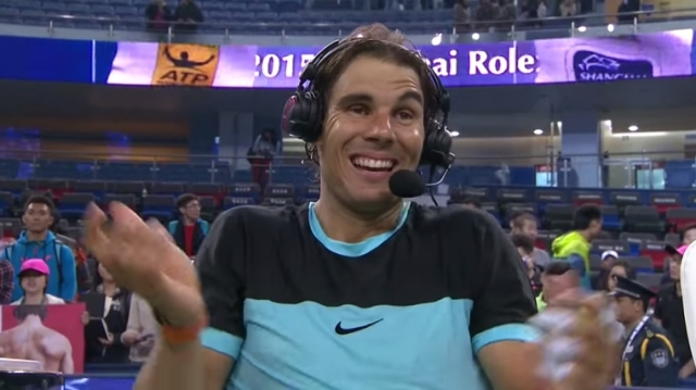 Rafael Nadal's post-match interview after beating Ivo Karlovic in Shanghai