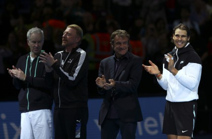 John McEnroe, Boris Becker, Mats Wilander and Rafael Nadal watch on as Lleyton Hewitt of Australia is presented with the ATP Roll of Honour during day four of the Barclays ATP World Tour Finals at the O2 Arena on November 18, 2015 in London, England. (Nov. 17, 2015 - Source: Clive Brunskill/Getty Images Europe)
