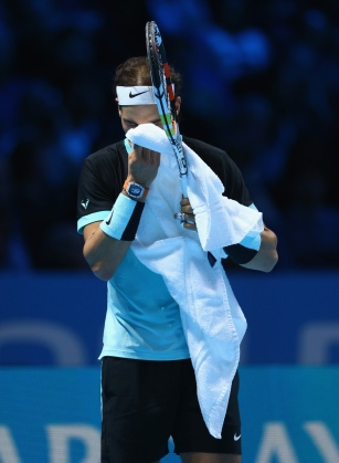 LONDON, ENGLAND - NOVEMBER 21: Rafael Nadal of Spain shows his emotions after his straight sets defeat by Novak Djokovic of Serbia during the men's singles semi final match on day seven of the Barclays ATP World Tour Finals at O2 Arena on November 21, 2015 in London, England. (Photo by Clive Brunskill/Getty Images)