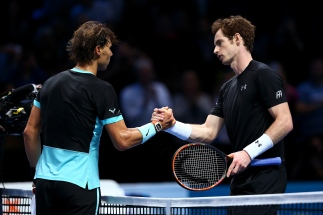 LONDON, ENGLAND - NOVEMBER 18: Rafael Nadal of Spain (L) shakes hands with Andy Murray of Great Britain (R) after his victory in their men's singles match during day four of the Barclays ATP World Tour Finals at the O2 Arena on November 18, 2015 in London, England. (Photo by Clive Brunskill/Getty Images)