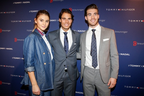 STUTTGART, GERMANY - NOVEMBER 10: Stefanie Giesinger, Rafael Nadal and Janis Danner attend the Tommy Hilfiger X Rafael Nadal @ Breuninger on November 10, 2015 in Stuttgart, Germany. (Photo by Franziska Krug/Getty Images for Tommy Hilfiger)