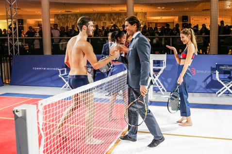 STUTTGART, GERMANY - NOVEMBER 10: Janis Danner, Rafael Nadal and Stefanie Giesinger attend the Tommy Hilfiger X Rafael Nadal @ Breuninger on November 10, 2015 in Stuttgart, Germany. (Photo by Franziska Krug/Getty Images for Tommy Hilfiger)