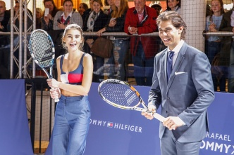 STUTTGART, GERMANY - NOVEMBER 10: Stefanie Giesinger and Rafael Nadal attend the Tommy Hilfiger X Rafael Nadal @ Breuninger on November 10, 2015 in Stuttgart, Germany. (Photo by Franziska Krug/Getty Images for Tommy Hilfiger)