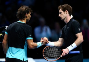 Rafael Nadal of Spain (L) shakes hands with Andy Murray of Great Britain (R) after his victory in their men's singles match during day four of the Barclays ATP World Tour Finals at the O2 Arena on November 18, 2015 in London, England. (Nov. 17, 2015 - Source: Clive Brunskill/Getty Images Europe)