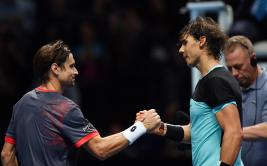 Tennis - Barclays ATP World Tour Finals - O2 Arena, London - 20/11/15 Men's Singles - Spain's Rafael Nadal shakes hands with Spain's David Ferrer after their match Action Images via Reuters / Tony O'Brien Livepic EDITORIAL USE ONLY.