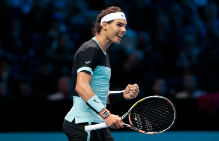 Tennis - Barclays ATP World Tour Finals - O2 Arena, London - 20/11/15 Men's Singles - Spain's Rafael Nadal celebrates during his match against Spain's David Ferrer Reuters / Suzanne Plunkett Livepic EDITORIAL USE ONLY.