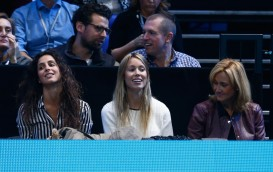 Rafael Nadal's girlfriend Xisca Perello, sister Isabel Nadal and mother Ana Maria Parera are seen during the men's singles semi final against Novak Djokovic of Serbia on day seven of the Barclays ATP World Tour Finals at the O2 Arena on November 21, 2015 in London, England. (Nov. 20, 2015 - Source: Julian Finney/Getty Images Europe)