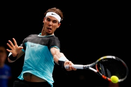 PARIS, FRANCE - NOVEMBER 05: Rafael Nadal of Spain in action against Kevin Anderson of South Africa during Day 4 of the BNP Paribas Masters held at AccorHotels Arena on November 5, 2015 in Paris, France. (Photo by Dean Mouhtaropoulos/Getty Images)