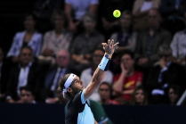 BASEL, SWITZERLAND - NOVEMBER 01: Rafael Nadal of Spain in action during the final match of the Swiss Indoors ATP 500 tennis tournament against Roger Federer of Switzerland at St Jakobshalle on November 1, 2015 in Basel, Switzerland (Photo by Harold Cunningham/Getty Images)