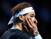 Rafael Nadal of Spain reacts during his match against Switzerland's Roger Federer at the Swiss Indoors ATP men's tennis tournament in Basel, Switzerland November 1, 2015. REUTERS/Arnd Wiegmann