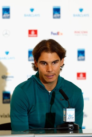 Rafael Nadal of Spain talks to the media during the Barclays ATP World Tour Finals previews at O2 Arena on November 13, 2015 in London, England. (Nov. 12, 2015 - Source: Julian Finney/Getty Images Europe)