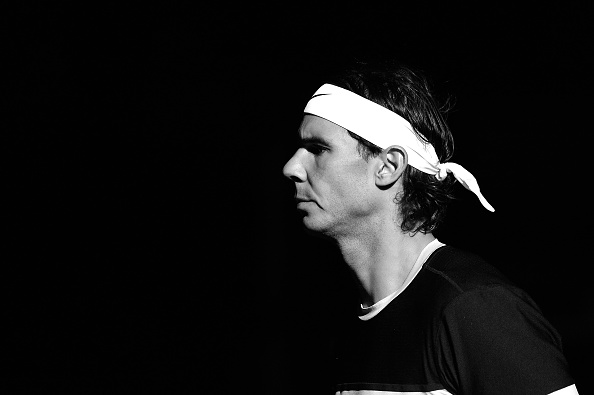 PARIS, FRANCE - NOVEMBER 04: (EDITOR'S NOTE: This image has been converted to black and white) Rafael Nadal of Spain reacts as he enters the court before his Men's second round match against Lukas Rosol of Czech Repubilc on day three of the BNP Paribas Masters at Palais Omnisports de Bercy on November 4 2015 in Paris, France. (Photo by Aurelien Meunier/Getty Images)