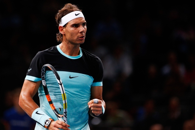 PARIS, FRANCE - NOVEMBER 04: Rafael Nadal of Spain celebrates a point against Lukas Rosol of Czech Republic during Day 3 of the BNP Paribas Masters held at AccorHotels Arena on November 4, 2015 in Paris, France. (Photo by Dean Mouhtaropoulos/Getty Images)