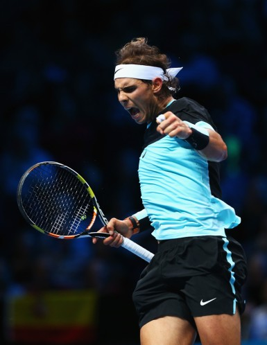 Rafael Nadal of Spain celebrates a point in his men's singles match against Stanislas Wawrinka of Switzerland during day two of the Barclays ATP World Tour Finals at O2 Arena on November 16, 2015 in London, England. (Nov. 15, 2015 - Source: Clive Brunskill/Getty Images Europe)