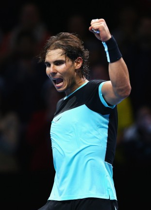 Rafael Nadal of Spain celebrates victory in his men's singles match against Stanislas Wawrinka of Switzerland during day two of the Barclays ATP World Tour Finals at O2 Arena on November 16, 2015 in London, England. (Nov. 15, 2015 - Source: Julian Finney/Getty Images Europe)