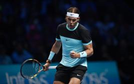 Tennis - Barclays ATP World Tour Finals - O2 Arena, London - 16/11/15 Men's Singles - Spain's Rafael Nadal celebrates during his match against Switzerland's Stanislas Wawrinka Action Images via Reuters / Tony O'Brien Livepic EDITORIAL USE ONLY.