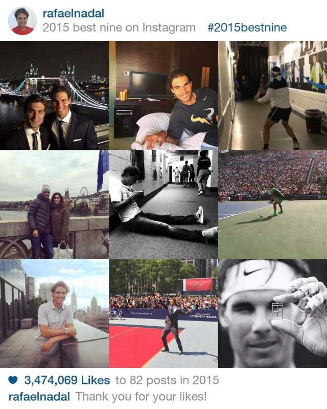 Rafael Nadal 9 Best Instagram Photos of 2015