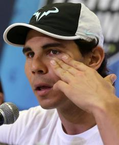Spanish tennis player Rafael Nadal speaks during a news conference within an event of his Rafa Nadal Academy, in Manila, Philippines, 06 December 2015. Nadal is in Manila with other current and former international male and female tennis aces to compete in the International Premier Tennis League (IPTL). (Tenis, Filipinas) EFE/EPA/FRANCIS R. MALASIG