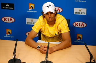 MELBOURNE, AUSTRALIA - JANUARY 19: Rafael Nadal of Spain speaks to the media during a press conference following his loss to Fernando Verdasco of Spain during day two of the 2016 Australian Open at Melbourne Park on January 19, 2016 in Melbourne, Australia. (Photo by Darrian Traynor/Getty Images)