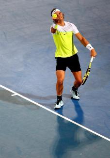 Spain's Rafael Nadal serves to Milos Raonic of Canada during the final match of Mubadala World Tennis Championship in Abu Dhabi, United Arab Emirates on 02 January 2016. (Tenis) EFE/EPA/ALI HAIDER
