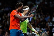 Gael Monfils and Rafael Nadal react after winning a point during the FAST4Tennis exhibition doubles match between Rafael Nadal and Gael Monfils of The World Team and Lleyton Hewitt and Nick Kyrgios of Australia Team at Allphones Arena on January 11, 2016 in Sydney, Australia. (Jan. 10, 2016 - Source: Zak Kaczmarek/Getty Images AsiaPac)