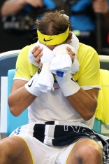 MELBOURNE, AUSTRALIA - JANUARY 19: Rafael Nadal of Spain reacts in his first round match against Fernando Verdasco of Spain during day two of the 2016 Australian Open at Melbourne Park on January 19, 2016 in Melbourne, Australia. (Photo by Michael Dodge/Getty Images)