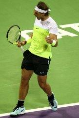 Rafael Nadal of Spain celebrates after winning his Qatar Open men's singles tennis match against Andrey Kuznetsov of Russia in Doha, Qatar January 7, 2016. REUTERS/Ibraheem Al Omari