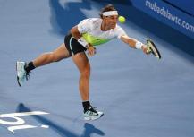 Spain's Rafael Nadal returns the ball to Milos Raonic of Canada during the final match of Mubadala World Tennis Championship in Abu Dhabi, United Arab Emirates on 02 January 2016. (Tenis) EFE/EPA/ALI HAIDER