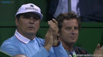 Rafael Nadal coaches Uncle Toni and Francisco Roig in Doha Qatar Open 2016