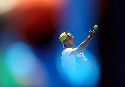 Spain's Rafael Nadal serves during a practice session at Melbourne Park, Australia, January 17, 2016. The Australian Open tennis tournament starts January 18. REUTERS/Jason O'Brien TPX IMAGES OF THE DAY