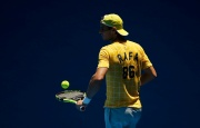 Spain's Rafael Nadal bounces a ball on his racquet during a practice session at Melbourne Park, Australia, January 16, 2016. The Australian Open tennis tournament starts January 18. REUTERS/Issei Kato
