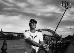 SYDNEY, AUSTRALIA - JANUARY 11: (EDITORS NOTE: Image has been converted to Black & White) Rafael Nadal poses for a 'Selfie' during the FAST4Tennis media opportunity at Circular Quay on January 11, 2016 in Sydney, Australia. (Photo by Brendon Thorne/Getty Images)
