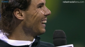 Rafael Nadal jokes during the trophy ceremony that he has found a new coach in Doha crowd