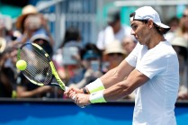 Rafael Nadal in a practice session during day one of the 2016 Australian Open at Melbourne Park on January 18, 2016 in Melbourne, Australia. (Zak Kaczmarek/Getty Images)
