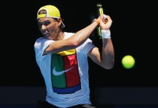 Rafael Nadal during a practice session ahead of the 2016 Australian Open at Melbourne Park on January 17, 2016 in Melbourne, Australia. (Michael Dodge/Getty Images AsiaPac)