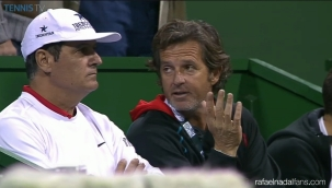Uncle Toni Nadal and Francisco Roig watching Rafa at Qatar Open in Doha R2