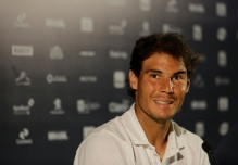 Rafael Nadal of Spain gives a press conference at the Rio Open tennis tournament in Rio de Janeiro, Brazil, Monday, Feb. 15, 2016. (AP Photo/Leo Correa)