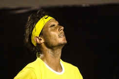 Rafael Nadal of Spain reacts to a lost point during his ATP Rio Open men's singles semi-final match against Pablo Cuevas of Uruguay, on Februrary 20, 2016 (AFP Photo/Yasuyoshi Chiba)