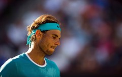 Rafael Nadal of Spain reacts during his match against Fernando Verdasco of Spain, March 15, 2016 at the BNP Paribas Open at the Indian Wells Tennis Garden in Indian Wells, California. / AFP / ROBYN BECK