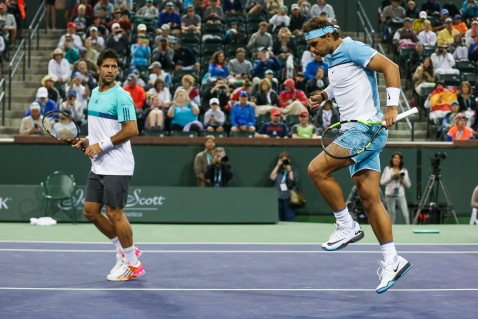 Rafael Nadal and Fernando Verdasco get ready to play Bob Bryan and Mike Bryan in Men's Doubles First Round in Stadium 2 at the Indian Wells Tennis Garden in Indian Wells, California Saturday, March 12, 2016. (Photo by Billie Weiss/BNP Paribas Open)
