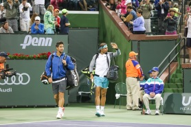 Rafael Nadal and Fernando Verdasco play Bob Bryan and Mike Bryan in Men's Doubles First Round in Stadium 2 at the Indian Wells Tennis Garden in Indian Wells, California Saturday, March 12, 2016. (Photo by Billie Weiss/BNP Paribas Open)